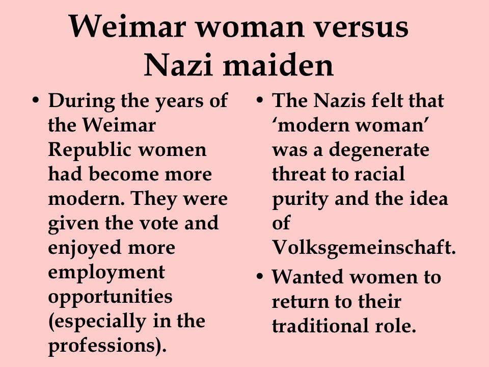 Weimar woman versus Nazi maiden