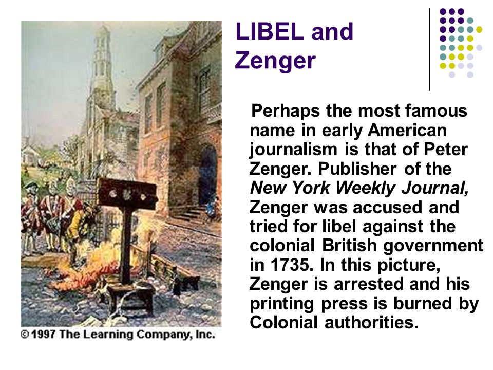 LIBEL and Zenger
