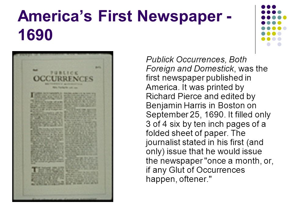 America's First Newspaper - 1690