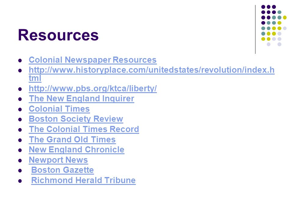 Resources Colonial Newspaper Resources