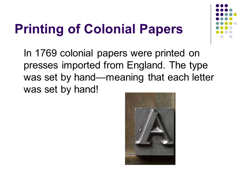 Printing of Colonial Papers
