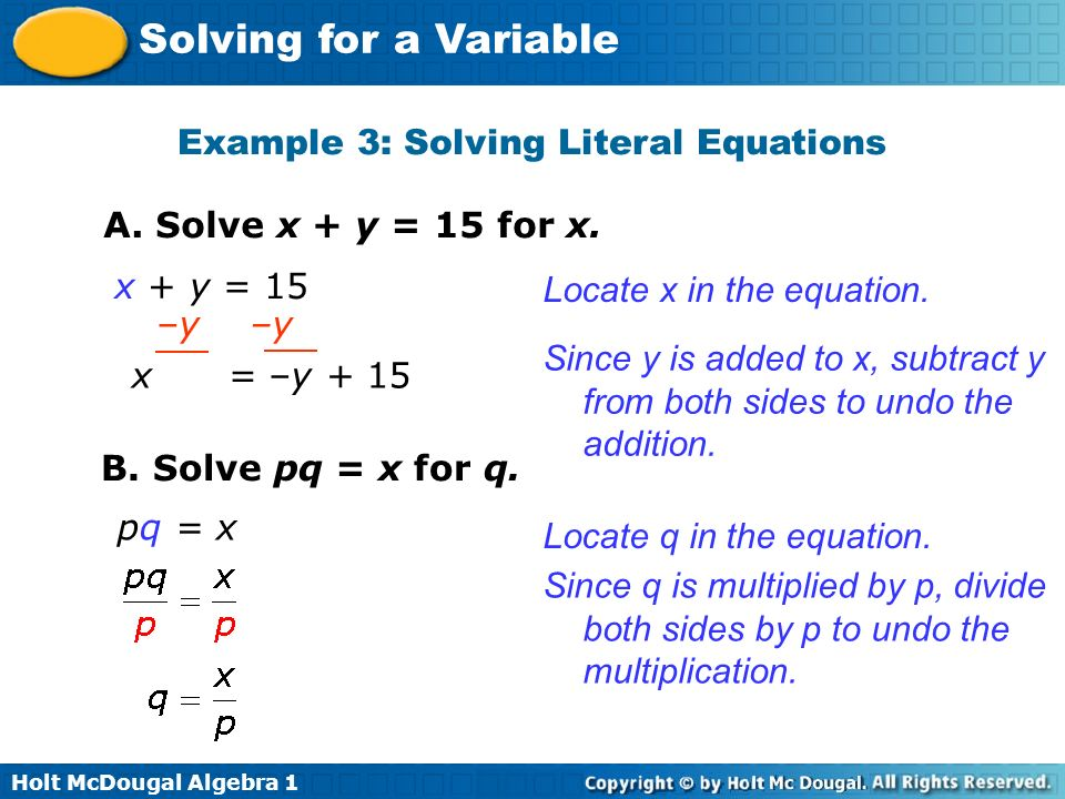 Example 3: Solving Literal Equations