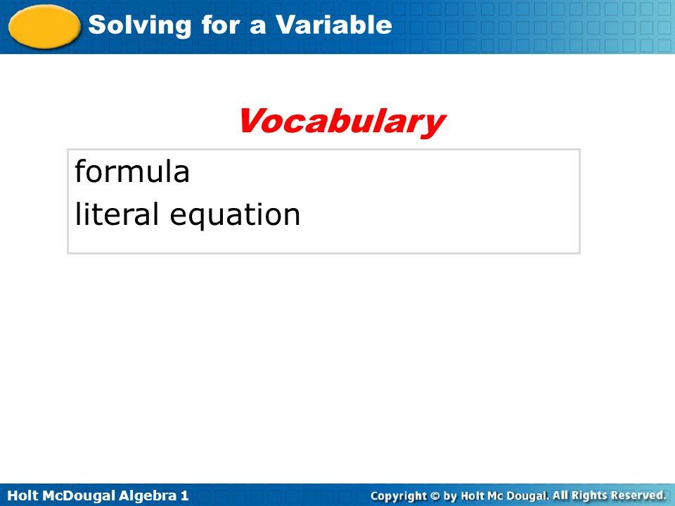 Vocabulary formula literal equation