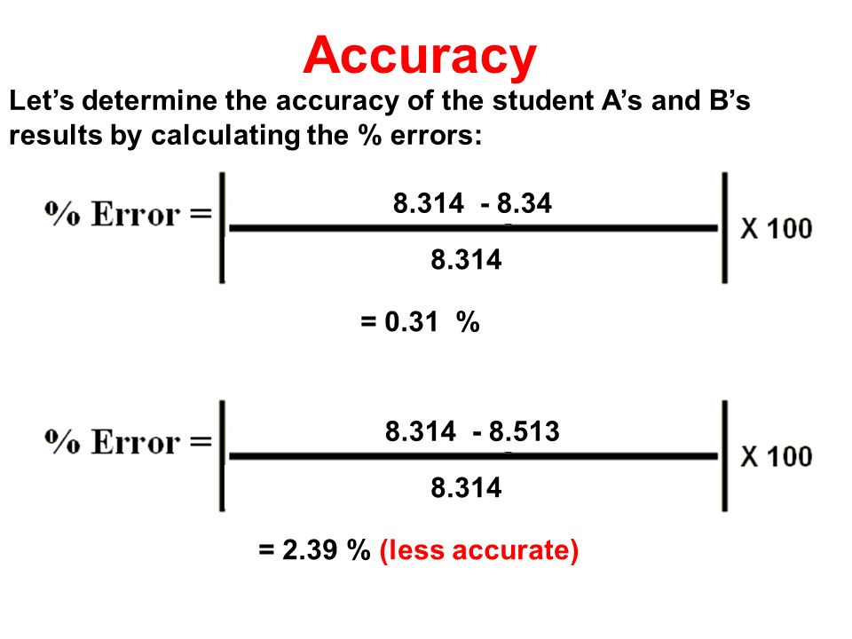 Accuracy Let's determine the accuracy of the student A's and B's results by calculating the % errors: