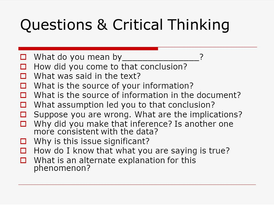 Questions & Critical Thinking