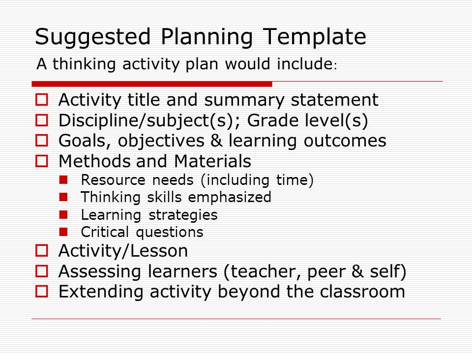 Suggested Planning Template