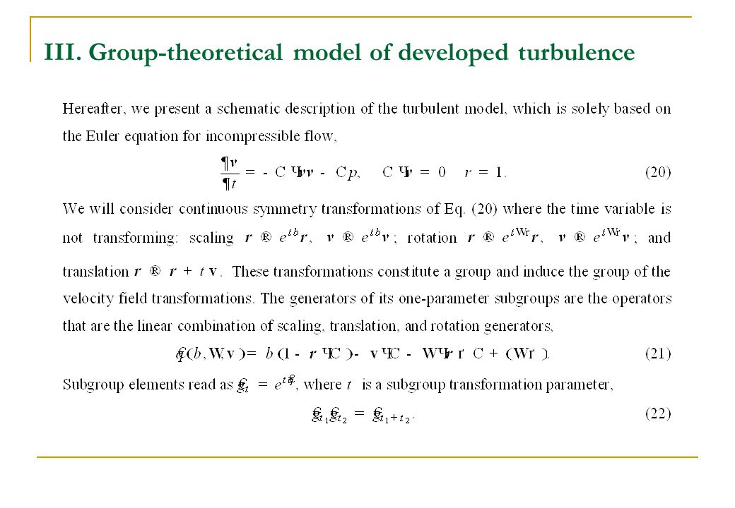 III. Group-theoretical model of developed turbulence