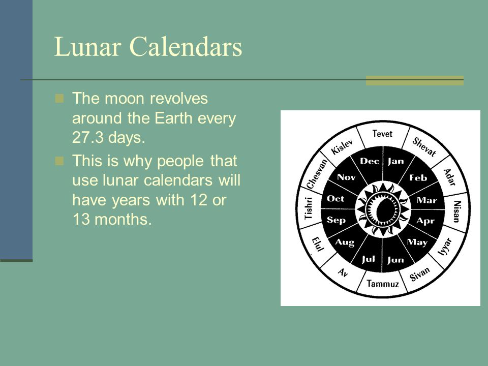 Lunar Calendars The moon revolves around the Earth every 27.3 days.