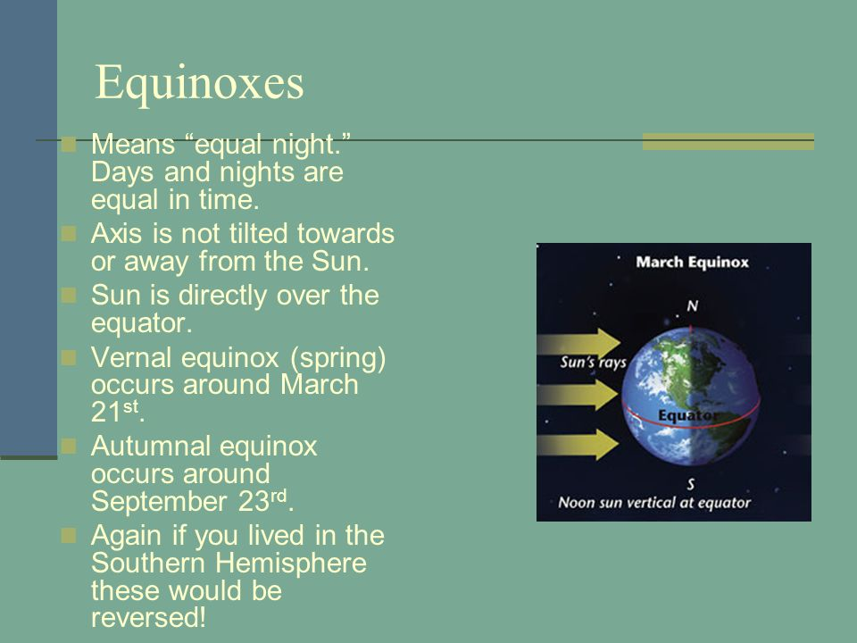 Equinoxes Means equal night. Days and nights are equal in time.