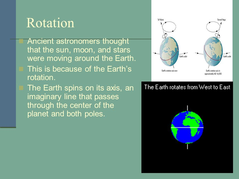 RotationAncient astronomers thought that the sun, moon, and stars were moving around the Earth. This is because of the Earth's rotation.