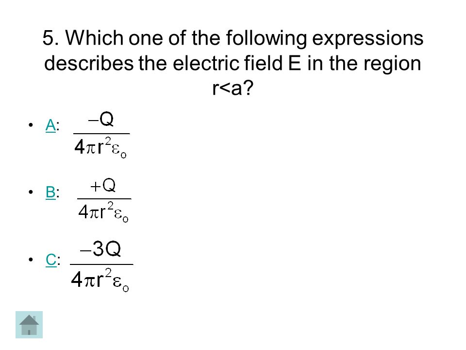 5. Which one of the following expressions describes the electric field E in the region r<a
