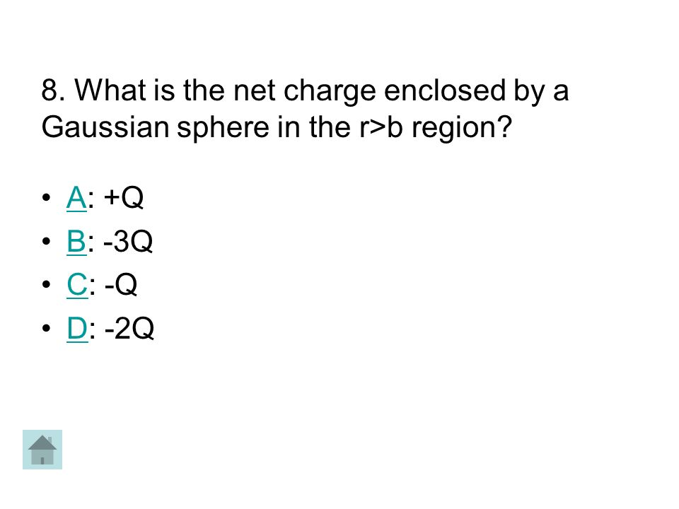 8. What is the net charge enclosed by a Gaussian sphere in the r>b region