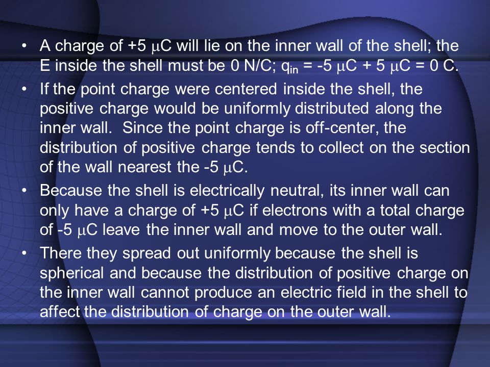 A charge of +5 mC will lie on the inner wall of the shell; the E inside the shell must be 0 N/C; qin = -5 mC + 5 mC = 0 C.