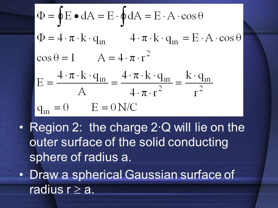 Region 2: the charge 2·Q will lie on the outer surface of the solid conducting sphere of radius a.