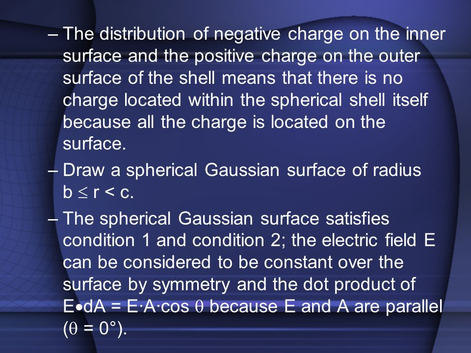 The distribution of negative charge on the inner surface and the positive charge on the outer surface of the shell means that there is no charge located within the spherical shell itself because all the charge is located on the surface.