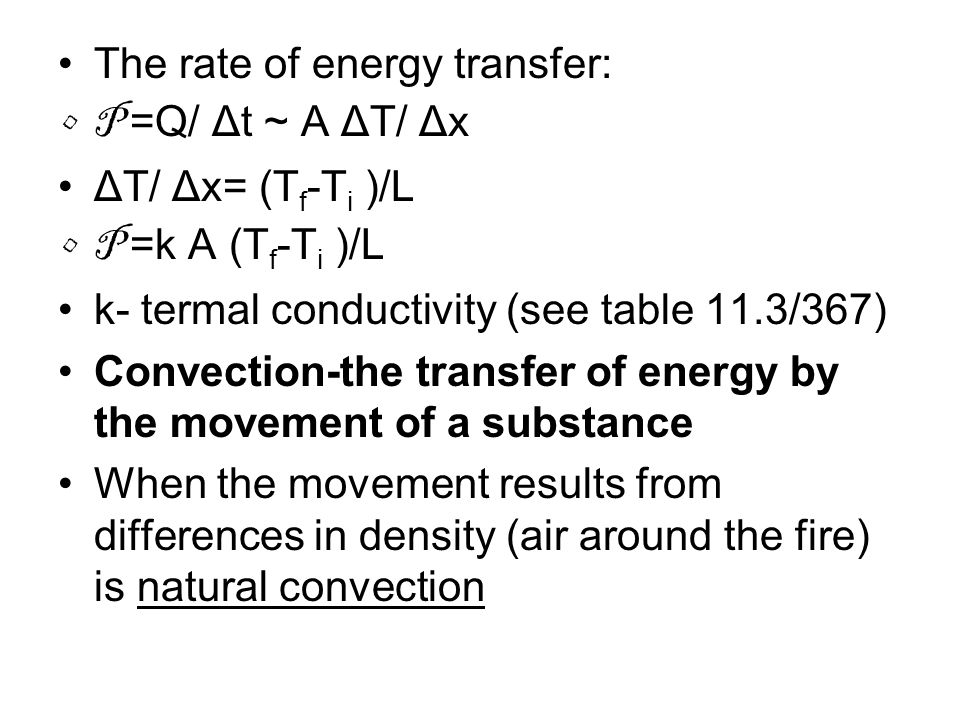 The rate of energy transfer: