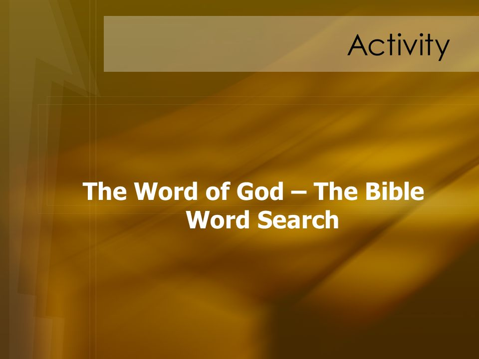 The Word of God – The Bible Word Search