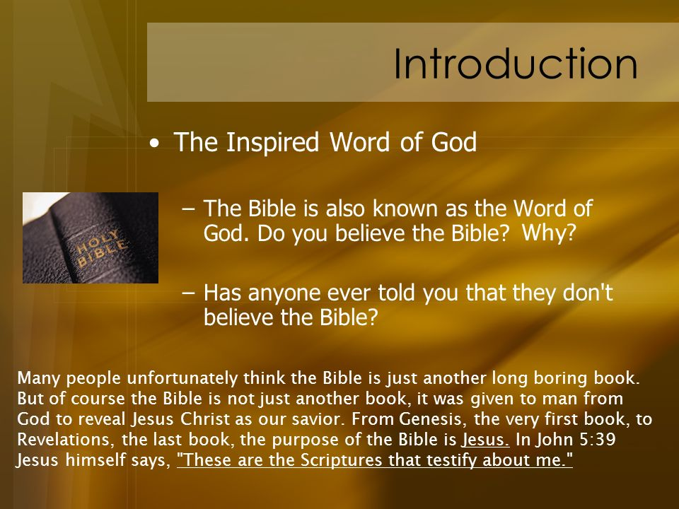 Introduction The Inspired Word of God