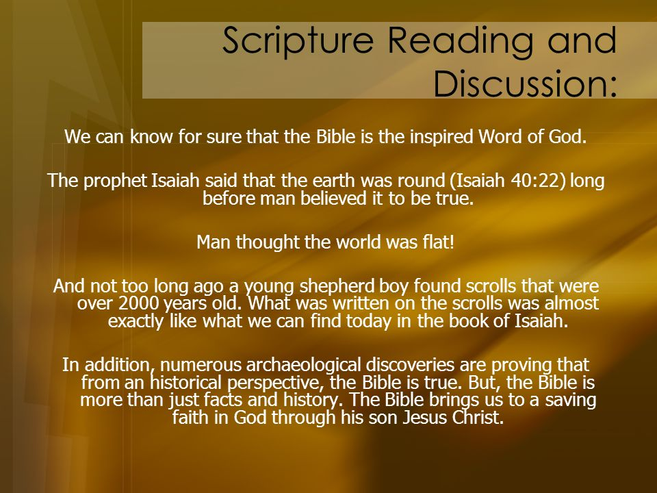 Scripture Reading and Discussion: