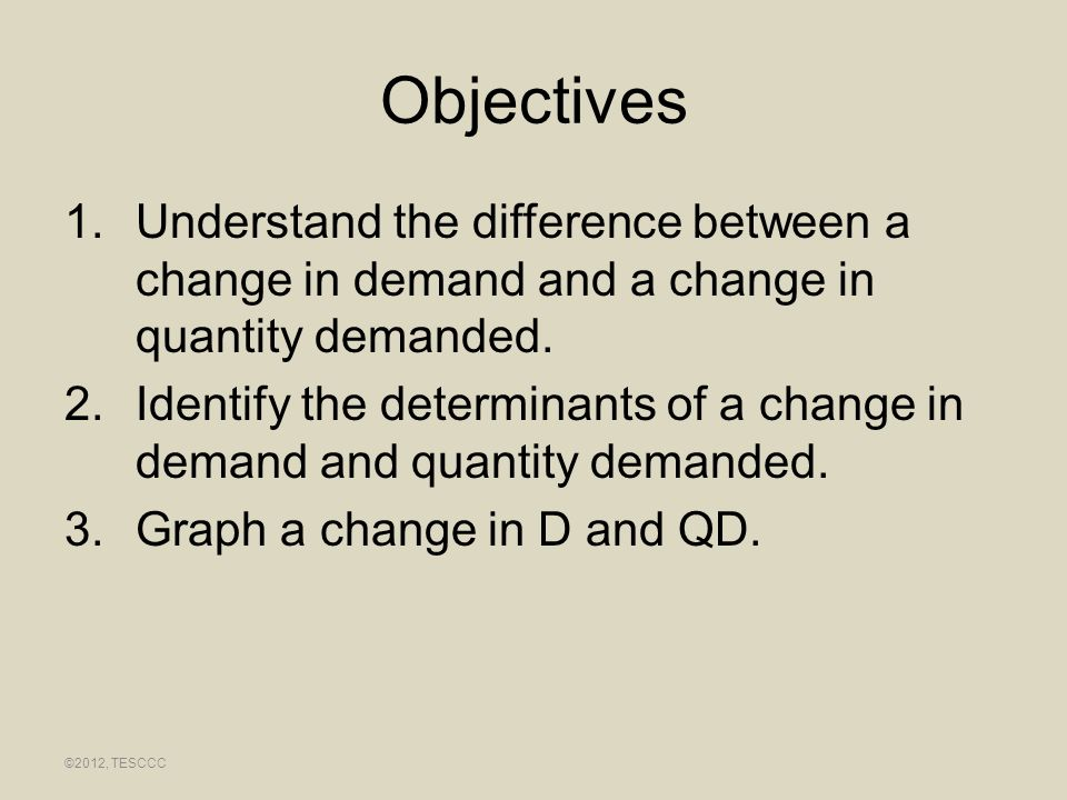 Objectives Understand the difference between a change in demand and a change in quantity demanded.