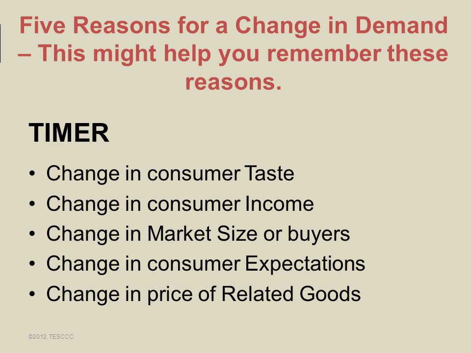 Five Reasons for a Change in Demand – This might help you remember these reasons.