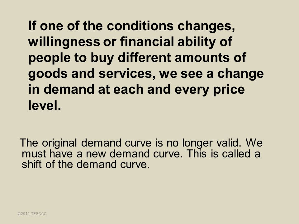 If one of the conditions changes, willingness or financial ability of people to buy different amounts of goods and services, we see a change in demand at each and every price level.