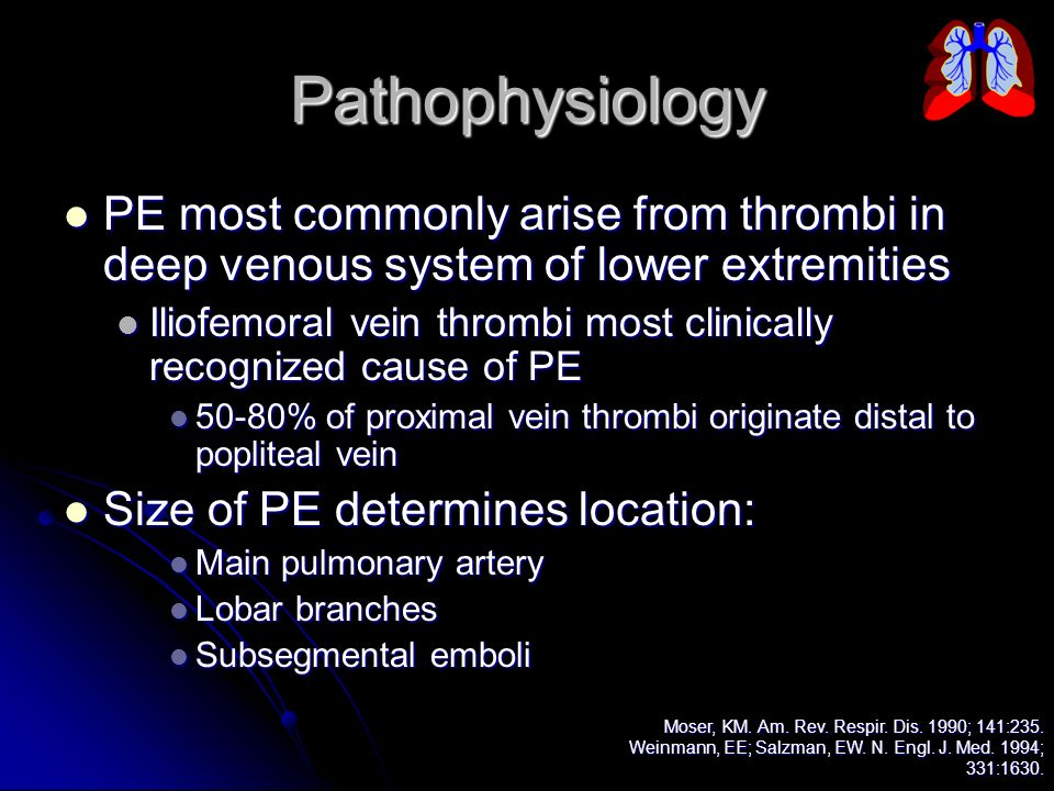 Pathophysiology PE most commonly arise from thrombi in deep venous system of lower extremities.
