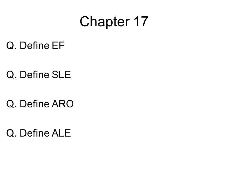Chapter 17 Q. Define EF Q. Define SLE Q. Define ARO Q. Define ALE