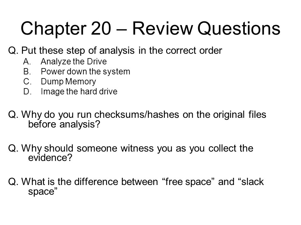 Chapter 20 – Review Questions