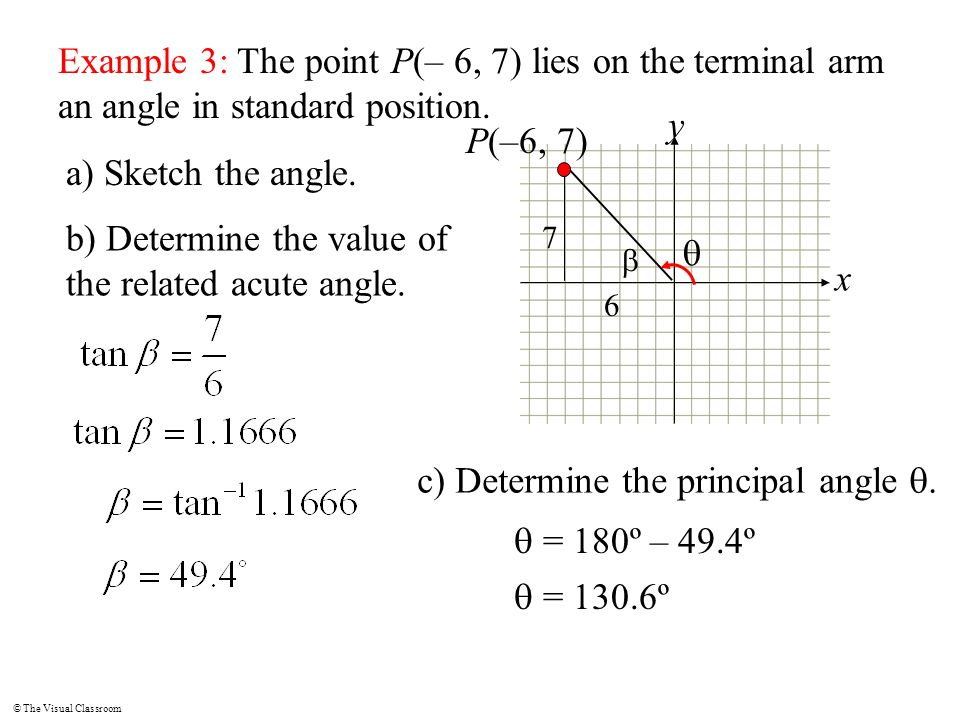 b) Determine the value of the related acute angle. q