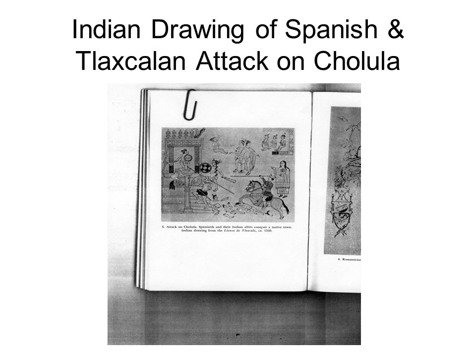 Indian Drawing of Spanish & Tlaxcalan Attack on Cholula