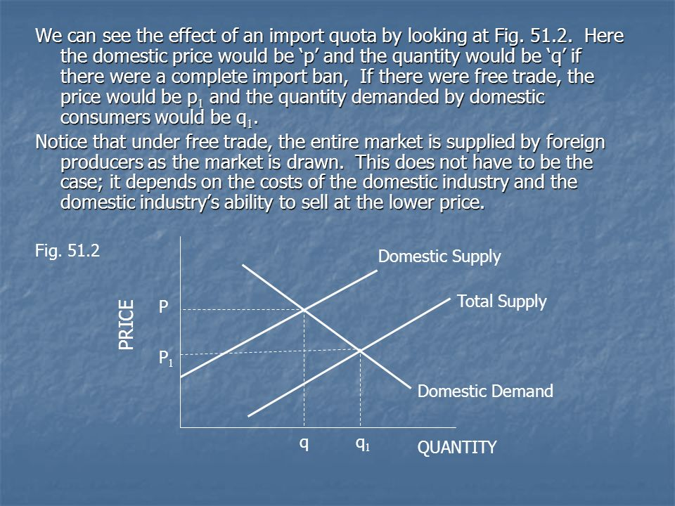We can see the effect of an import quota by looking at Fig. 51. 2