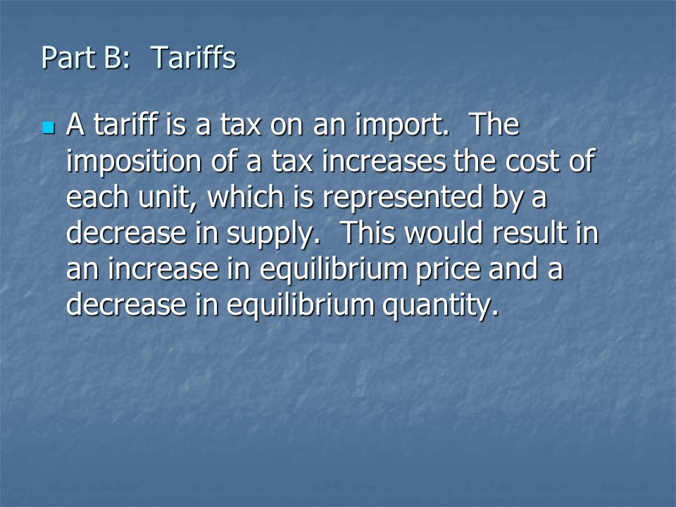 Part B: Tariffs