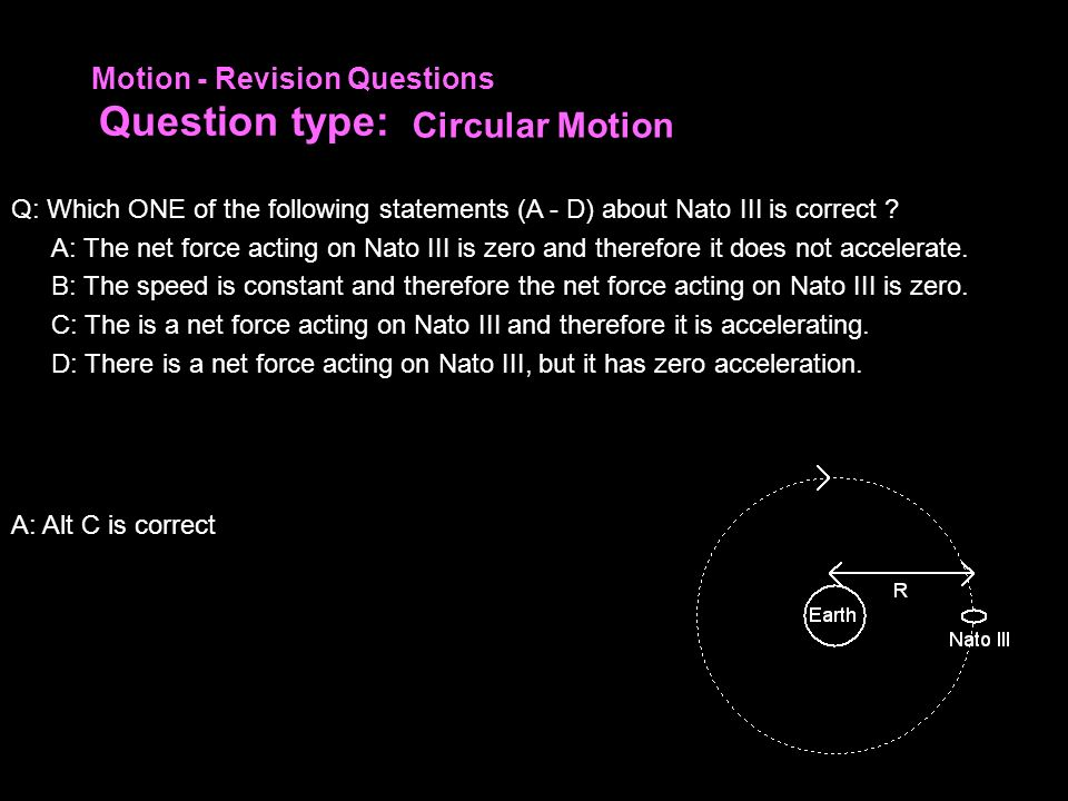 Circular Motion Motion - Revision Questions Question type: