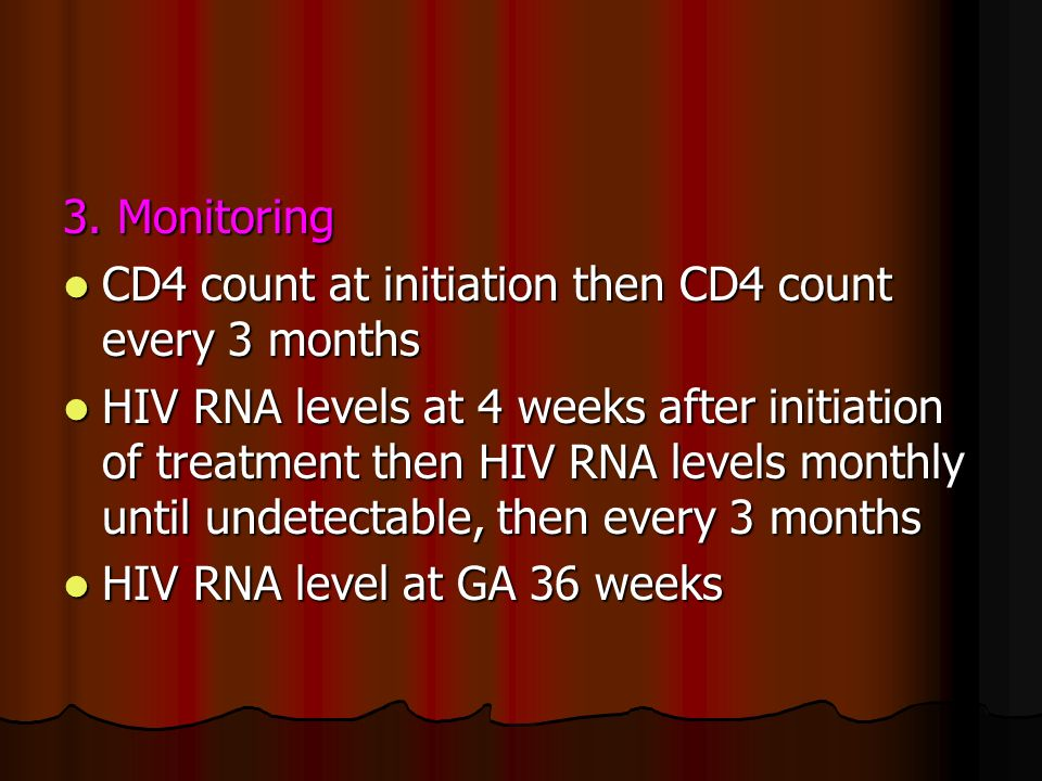 3. MonitoringCD4 count at initiation then CD4 count every 3 months.