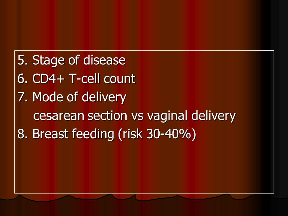 5. Stage of disease6. CD4+ T-cell count. 7. Mode of delivery. cesarean section vs vaginal delivery.