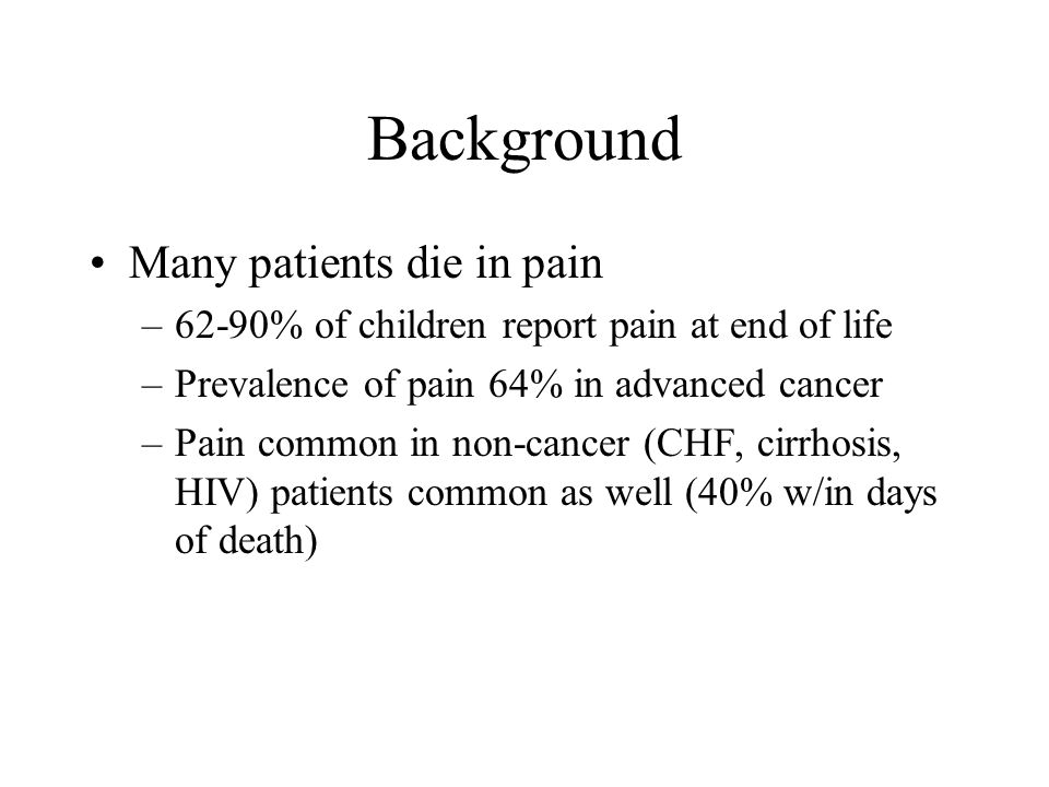 Background Many patients die in pain