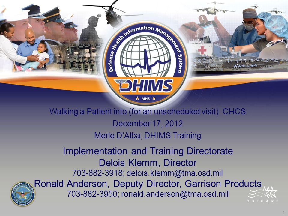 Implementation and Training Directorate Delois Klemm, Director