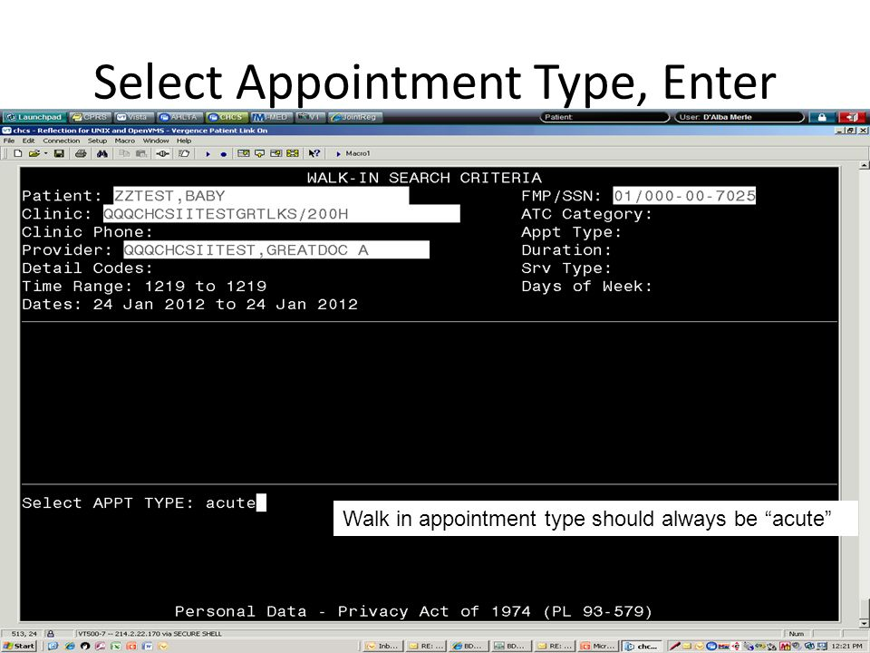 Select Appointment Type, Enter