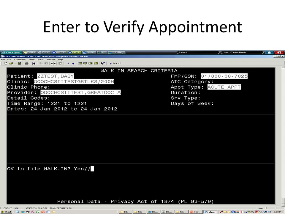 Enter to Verify Appointment