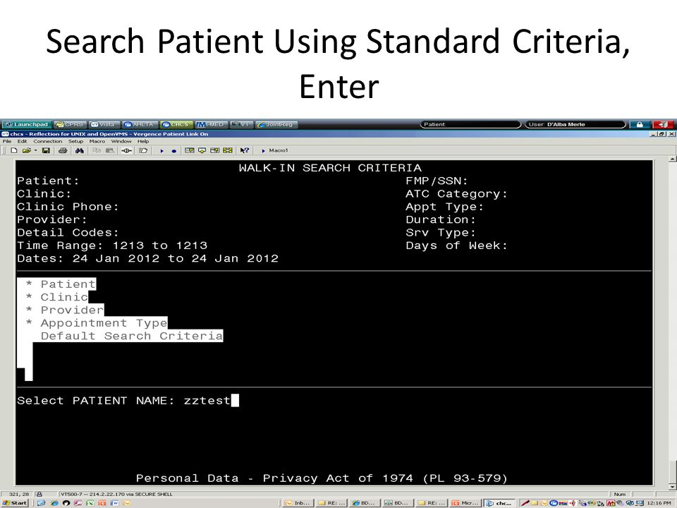 Search Patient Using Standard Criteria, Enter