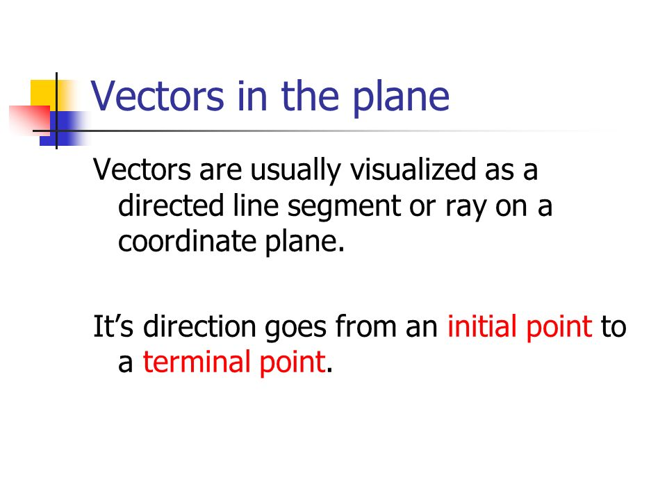 Vectors in the plane Vectors are usually visualized as a directed line segment or ray on a coordinate plane.