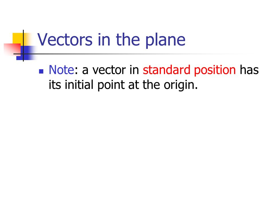 Vectors in the plane Note: a vector in standard position has its initial point at the origin.