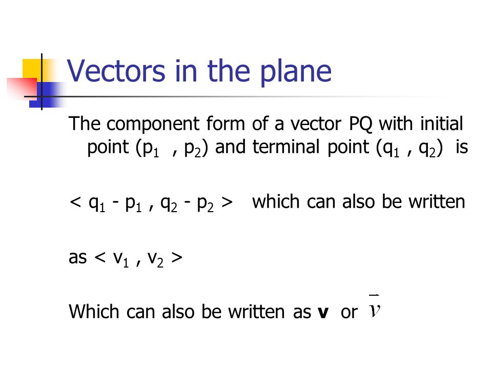 Vectors in the plane The component form of a vector PQ with initial point (p1 , p2) and terminal point (q1 , q2) is.