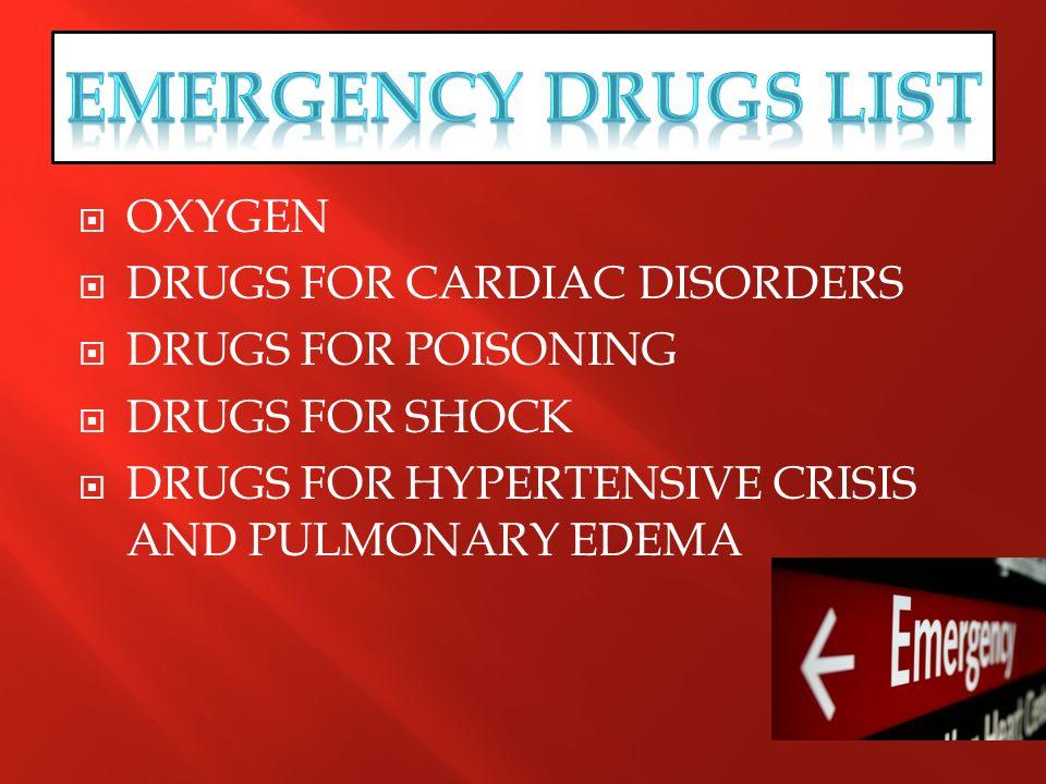 EMERGENCY DRUGS LIST OXYGEN DRUGS FOR CARDIAC DISORDERS