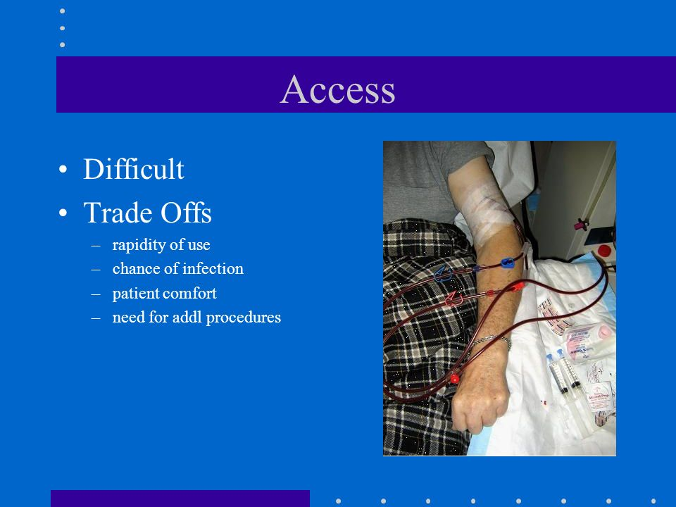 Access Difficult Trade Offs rapidity of use chance of infection