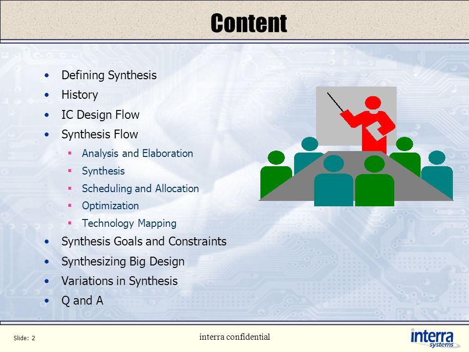 Content Defining Synthesis History IC Design Flow Synthesis Flow
