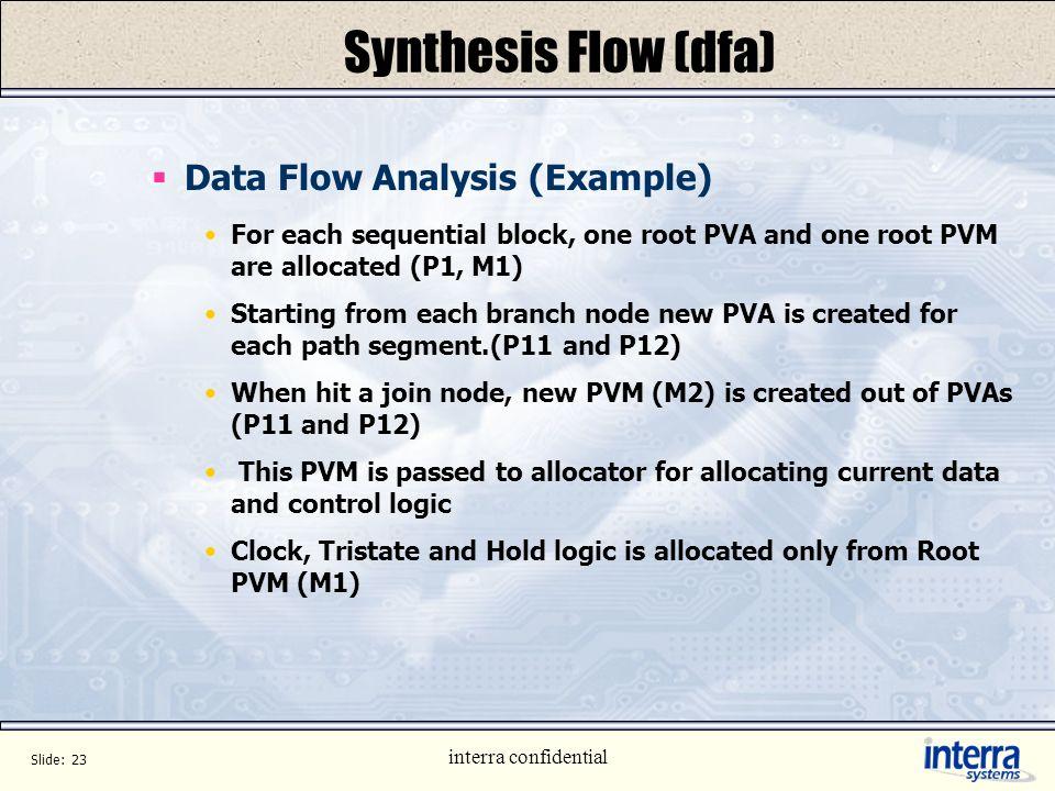 Synthesis Flow (dfa) Data Flow Analysis (Example)