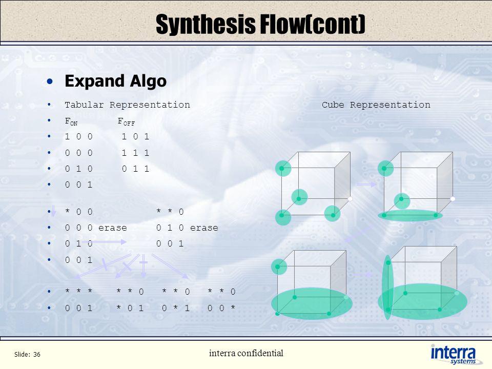 Synthesis Flow(cont) Expand Algo