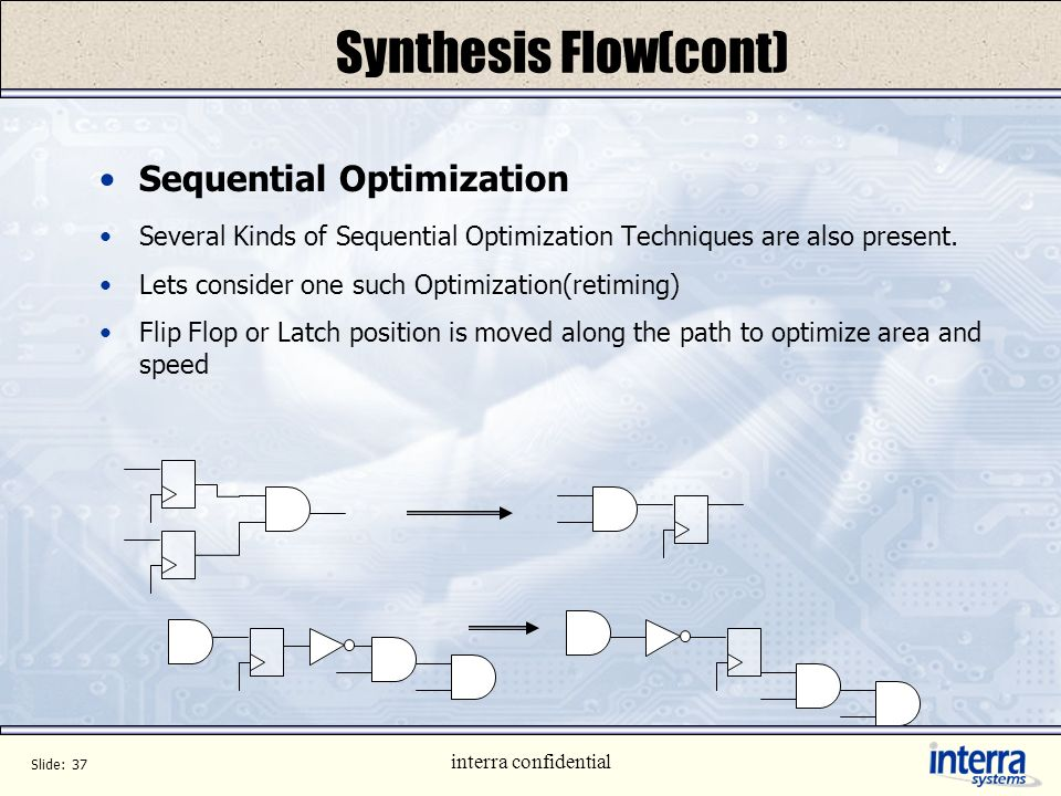 Synthesis Flow(cont) Sequential Optimization